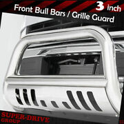 3 Chrome Bull Bar Grille Guards For 2004-2018 Ford F-150 Bumper With Skid Plate