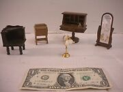 Dollhouse Furniture Miniatures Wooden Secretary Desk, Mirror , Lamp And Table
