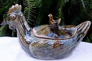 Rare Antique Glazed Heavy Pottery Hen Majolica Egg Holder W/ 3d Lid Collectable