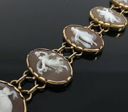 Vintage 3 Graces Dancing Ladies Shell Cameo 14k Yellow Gold Hand Made Bracelet