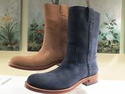 Nwb Womens Authentic Suede Mid Calf Boots Navy Or Camel 41/11 1850.00