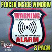 Inside 3 Pk Warning Alarm Shield Red Stickers Video Security System Decal Fs034