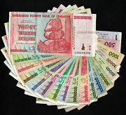 1 To 20 Trillion Dollars Zimbabwe Bank Notes Set Of 18 Bills Currency Collection