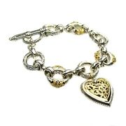 Charm Heart Bracelets For Girls And Womenandrsquos 18k Yellow Gold And Sterling Silver