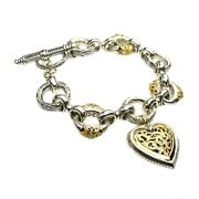 Charm Heart Bracelets For Girls And Women's 18k Yellow Gold And Sterling Silver