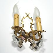 Vintage French Sconce, Pendeloque, Amethyst And Amber Crystal Prisms