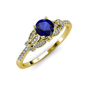 Blue Sapphire And Diamond Engagement Ring 1.23 Ct Tw In 14k Yellow Gold Jp110605