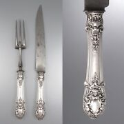 Antique French Sterling Silver Carving Set, Paris, Cherubsputtiheads Horn Mask