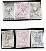 Poland Stamps 1939 Gordon Bennett Balloon Stamps Perforated And Imperforated