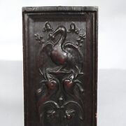 Antique French Hand Carved Wooden Panel Pelican Birds And Dolphins