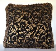 Black Gold Floral Chenille Fringe Pillow For Sofa Chair Or Couch Made In Usa