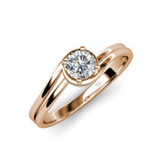Diamond Bypass Womens Solitaire Engagement Ring 0.63 Ct 14k Rose Gold Jp112847