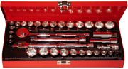 34 Piece 3/8 Drive Sae And Metric Socket Set 12 Point Tande Tools 12009
