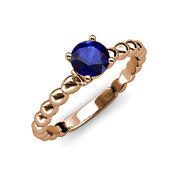Blue Sapphire And Diamond Engagement Ring 1.01 Ct Tw In 14k Rose Gold Jp110900