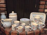 Crate And Barrel Snow People Plates, Mugs, Tray, Cookie Jar, Pitcher, Milk Jug