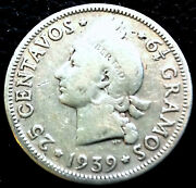1939 Dominican Republic Silver Coin 25 Centavos Low Mint Rare All Legends