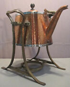 Jos. Heinrichs_hammered Copper/sterling Silver_tea Kettle And Stand_exc_ships Free