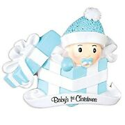 Baby's 1st Christmas Personalized Christmas Tree Ornament Baby Boy In Gift Box