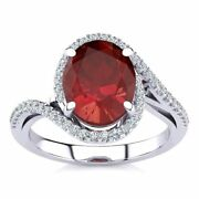 14k Gold 3 1/3 Carat Oval Ruby And Halo Diamond Ring - In 3 Gold Colors
