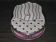 New American Flag Chevy 12 Oval Air Cleaner Kand N 2 Washable Filter 5.125 Neck