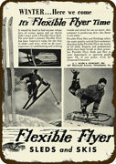 1939 Flexible Flyer Sled And Snow Skis Vintage Look Decorative Metal Sign