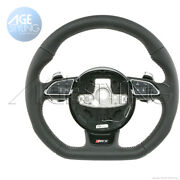 Oem Audi Rs7 A7 S7 Quattro Tiptronic Flat Bottom Steering Wheel Punched Leather