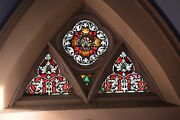 + Fine Older German Stained Glass Church Window, Crown Of Thorns + 3 Panels +