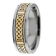 14k Solid Gold Two Tone Mens Celtic Knot Wedding Bands Rings Mans Comfort Fit
