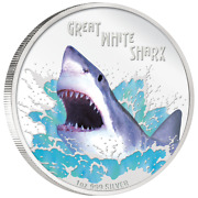 Rare 2007 Tuvalu 1 Oz Silver Great White Shark Deadly And Dangerous Uncirculated