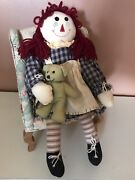 Primitive Raggedy Ann Doll With Chair Primitive Dolls Country Decor Wreath Swag