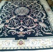 Lido Savonnerie Style Hand Knotted Navy Blue Rug 100 Wool 8x11