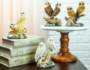 Owl Barn Great Horned Snowy And Screech Owls Perching On Branch Figurine Set Of 4