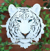 White Tiger Head Hanging Statue 16 Height Wall Mount Plaque Figurine Resin