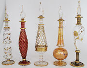 Set Of Five 9 Egyptian Perfume Bottles + 24k Gold Plated + Mouth Blown