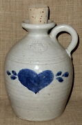 "SIGNED~6"" AMERICANA PINEWOOD VALLEY STONEWARE JUG w/ CORK & BLUE HEART MOTIF"