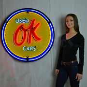 Neon Sign Ok Used Cars Chevy Licensed Chevrolet Parts 36 75 Pounds Garage