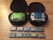 2 Leapster Children Learning Game Consoles Lot With 10 Games Work Great 4 Trips