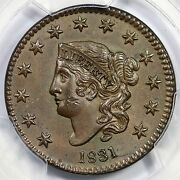 1831 N-8 R-3 Pcgs Ms 62 Bn Lg Letters Matron Or Coronet Head Large Cent Coin 1c