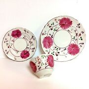 19th C English Allerton Pink Luster 3 Piece Setting Tea Cup Saucer Dessert Plate