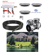New Large Fish And Pond Aeration System-300' Sink Hose 3 Diffusers 1+ Acre Ponds