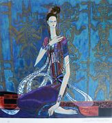 Ting Shao Kuang Calling The Soul Hand Signed Serigraph American/chinese 丁绍光