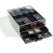 5 Coin Boxes Stackable Display Tray Drawer For 100 2x2 Quadrum Holders Storage