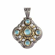 Byzantine Pendant 18k Yellow Gold And Silver 925 Aqua Spinel