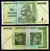 10 Trillion Zimbabwe Dollars Bank Note Aa 2008 Currency Rare Authentic