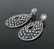 Unique 10ct Black Diamond And 20ct Moonstone Sterling Silver Large Drop Earrings