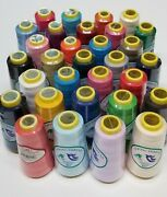16 Big Spool Sewing Thread Polyester 16 Colors Assorted 2500 Yards Each Spool