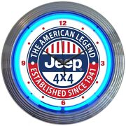 Neon Clock Sign Jeep Army Willys 4x4 Willys Kaiser Jk Tj 2017 Garage Wall Lamp