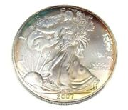 Monster Rainbow Toned 2007 Sae Silver American Eagle 1 Oz Fine Silver Coin