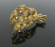 1960andrsquos And Co 0.30ct Diamond 0.30ct Sapphire 18k Yellow Gold Tree Brooch