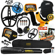 Garrett ace 400 metal detector with dd search coil, black da.